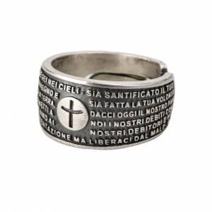 Obrączki z modlitwą: Obrączka Ojcze nasz j. łaciński brąz posrebrzany