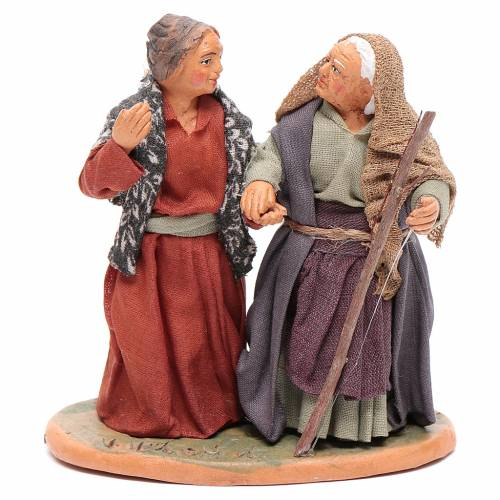 Old ladies holding hands, Neapolitan Nativity 10cm s1