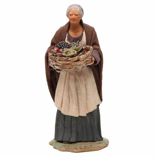 Old lady with fruit basket and straw, Neapolitan nativity figurine 24cm s1
