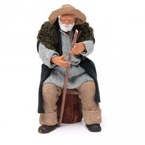 Old man sitting with stick, Neapolitan Nativity 12cm s1