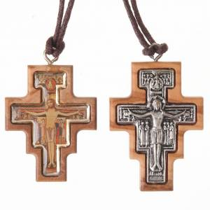 Wooden cross pendants: Olive wood Saint Damian cross