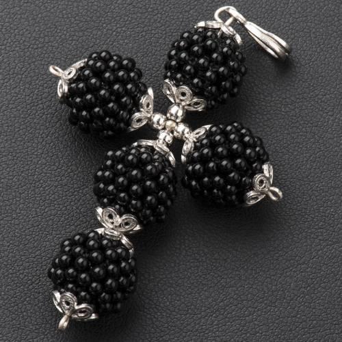 Onyx cross pendant 1,5 cm pearls s2