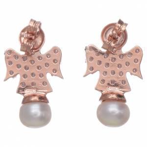 Orecchini AMEN rosè arg 925 angelo zirconi e perle s3