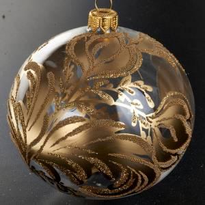 Ornement sapin, boule verre dorée 10 cm s2