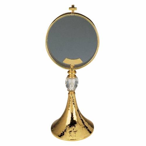 Ostensoir de chapelle laiton cristal 15 cm diamètre 1
