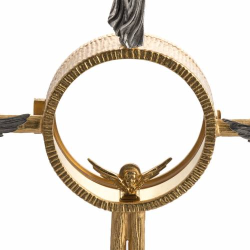 Ostensorio en bronce dorado con ángeles 60cm alto s2