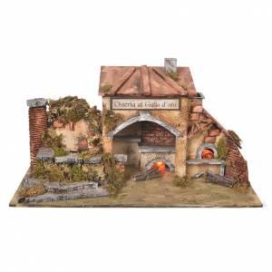 Ambientazioni, botteghe, case, pozzi: Osteria presepe 2 forni effetto fuoco e fontana 27x50x13 cm