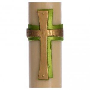 Kerzen: Osterkerze Kreuz Relief grün 8x120cm Bienewachs