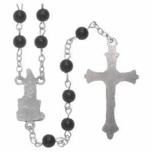 Imitation pearl rosaries: Our Lady of Fatima rosary black imitation pearl 6mm beads
