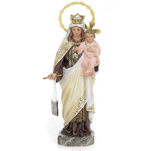 Our Lady of Mount Carmel 30cm wood paste, elegant decoration s1
