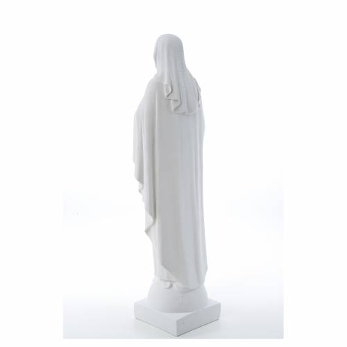 Our Lady with hand over heart, 79 cm reconstituted marble statue s3