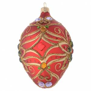 Oval bauble in red blown glass with green flower 130mm s2