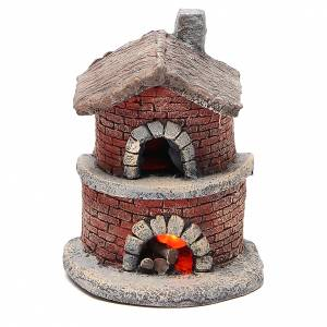 Fireplaces and ovens: Oven with canopy in resin for nativities 15x12x11cm