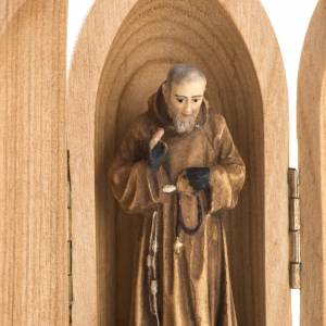 Padre Pio wooden statue painted in niche s3