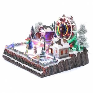 Pueblos navideños en miniatura: Paisaje navideño con noria y árbol rotatorio 30x40x35 cm