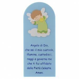 Bassorilievi vari: Pala Angelo di Dio in legno colorato azzurro angelo verde 30x10
