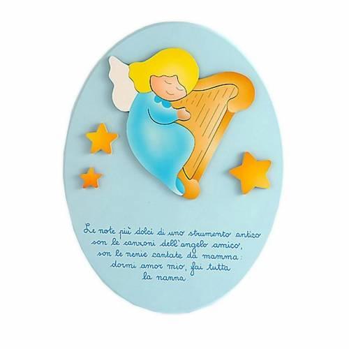 Ovale con preghiera e ninna nanna azzurro 1