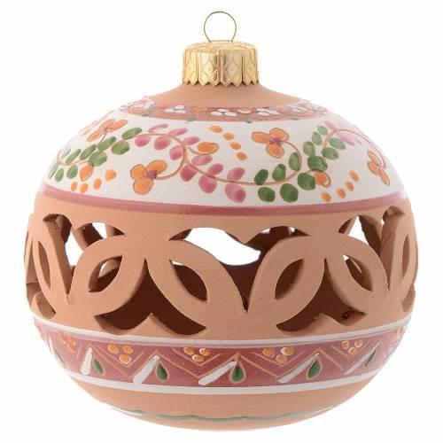 Palla Albero di Natale terracotta Deruta 100 mm rosa antico s1