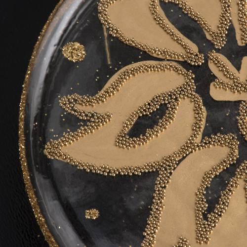 Palla Natale per albero vetro medaglia trasparente oro 8 cm s4