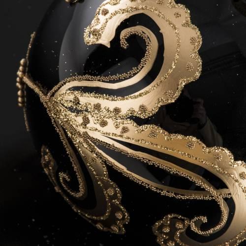 Palla Natale per albero vetro nero decori oro 10 cm s4