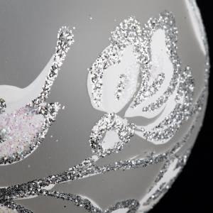 Palla Natale per albero vetro soffiato argento bianco 6 cm s3