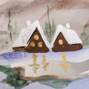 Palla Natale vetro soffiato paesaggio innevato 15 cm s4