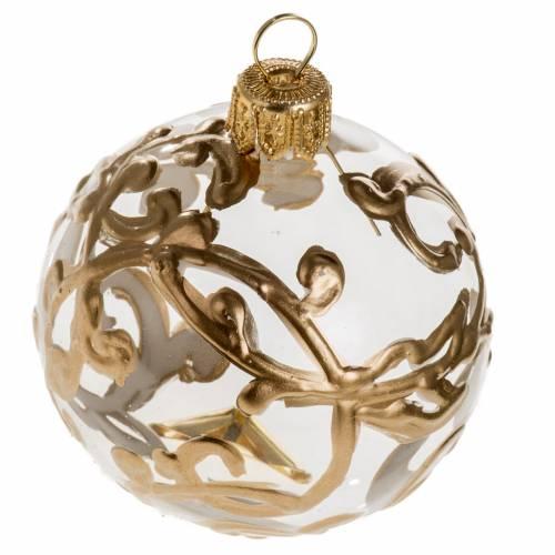 Palla Natale vetro trasparente dipinta a mano oro 6 cm s1