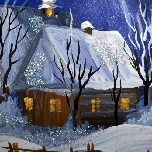 Palla per albero di Natale paesaggio notturno 10 cm s4