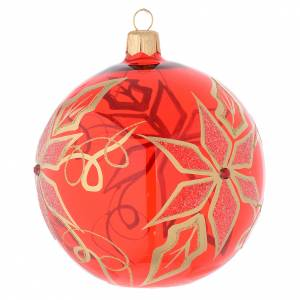 Palla rossa vetro soffiato Stella Natale 100 mm s2