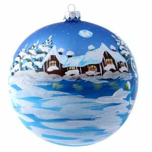 Palline di Natale: Pallina blu vetro 150 mm Babbo Natale con bimbo