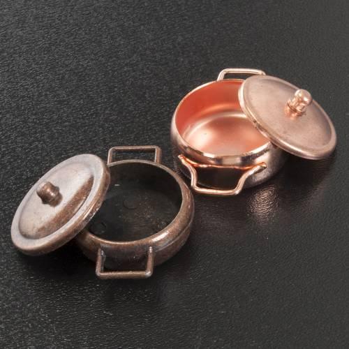 Pans in copper coloured metal, nativity set, 2pcs s2