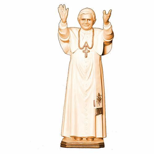 Papa Benedetto XVI diverse tonalità marroni legno Val Gardena s1