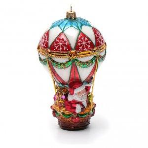 Papá Noel en aeróstato adorno vidrio soplado Árbol de Navidad s8