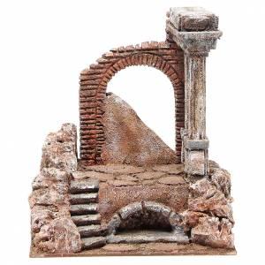 Parte di muro romano con 2 colonne presepe 27x24x18 cm s1