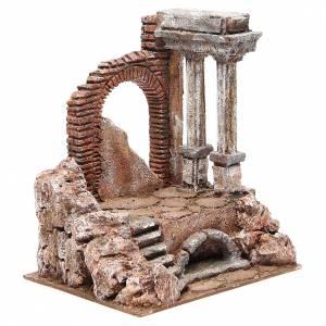 Parte di muro romano con 2 colonne presepe 27x24x18 cm s3