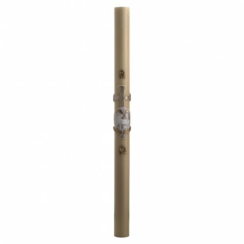Paschal Candle, beeswax with lamb and cross, silver 8x120cm s3