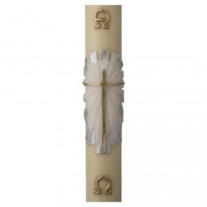 Candles, large candles: Paschal candle in beeswax with support and white and silver Resurrected Christ 8x120cm