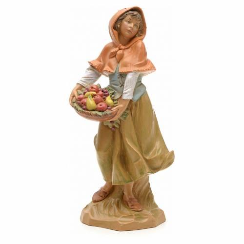 Pastora con cesta de frutas 19cm Fontanini s1