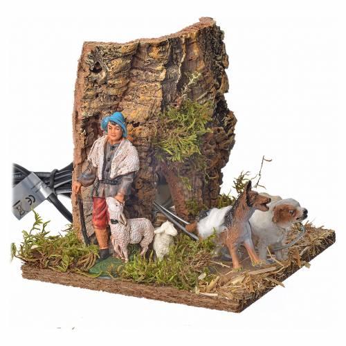 Pastore con pecore e cane 10 cm movimento s2