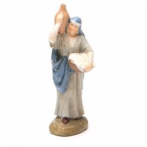 Statue per presepi: Pastorella con brocca resina dipinta cm 10 Linea M. Landi