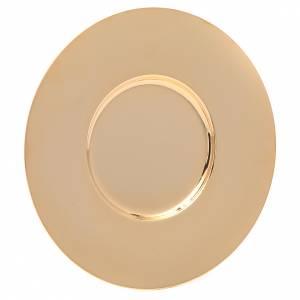 Calici Pissidi Patene metallo: Patena ottone dorato lucida sagomata cm 16