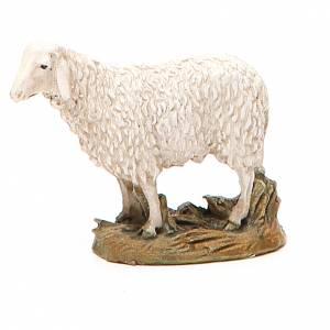Animali presepe: Pecora resina dipinta testa alta per presepe cm 10 Linea Landi