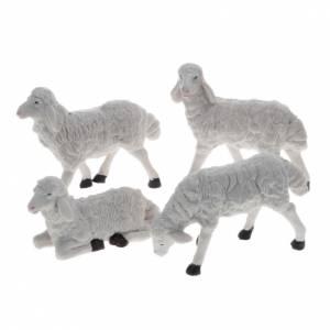 Pecore presepe plastica bianca 4 pz. 20 cm s1