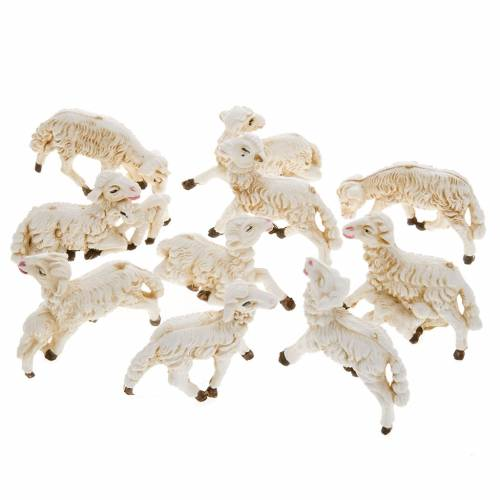 Pecore presepi plastica assortite 10 pz. 8 cm s1