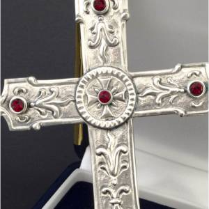 Pectoral cross in sterling silver, red synthetic stones s2