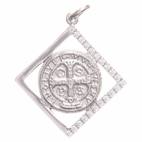 Pendant charm in 800 silver with Saint Benedict Cross 1.6x1.6cm s1