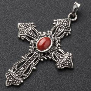 Pendant cross in bronzed silver and coral s2