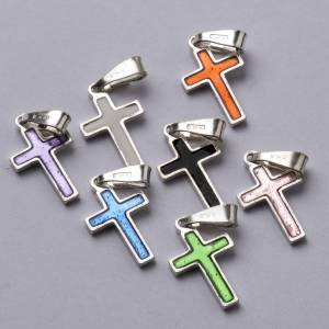 Pendant cross in silver and coloured enamel s2
