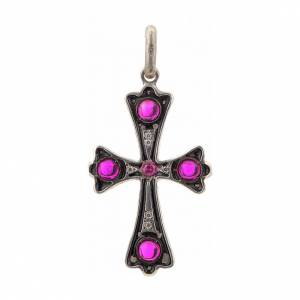 Pendant cross in sterling silver with red stones s1