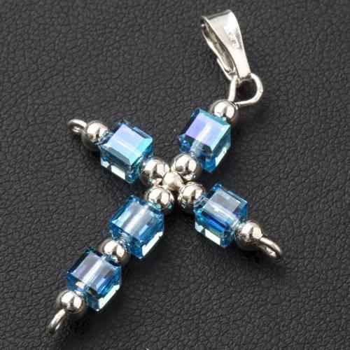 Pendant cross, light blue cubic Swarovski s2